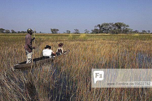 Botswana  Nordwest-Distrikt  Okavango-Delta  Überquerung der Sümpfe im Mokoro  Piroge
