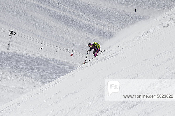 Ski Girl Enjoying The Spring Powder In Val Thorens