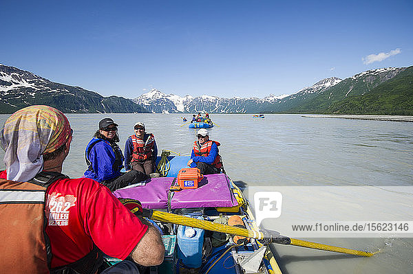 Group Of Rafters Rafting On The Alsek River