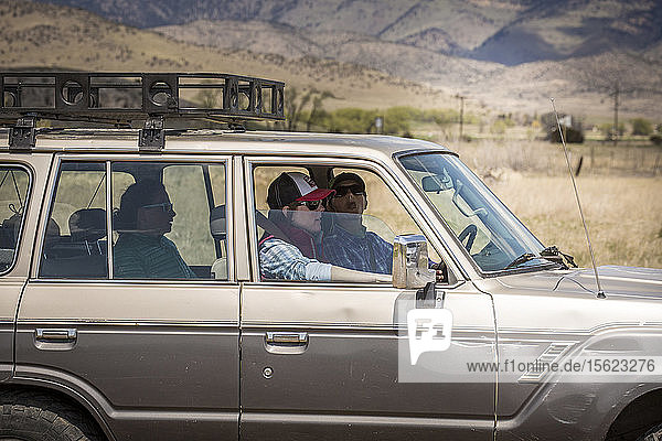 Group of women riding car in Yellowstone County  Montana
