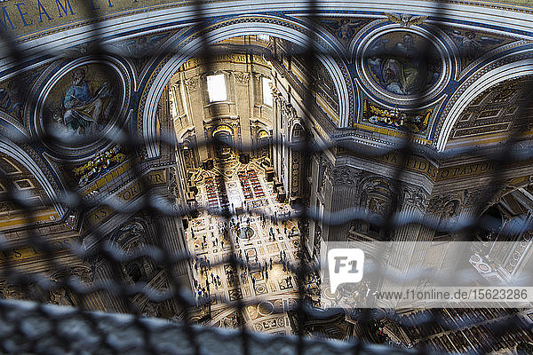 A view inside of St. Peter's Basilica from inside of the dome