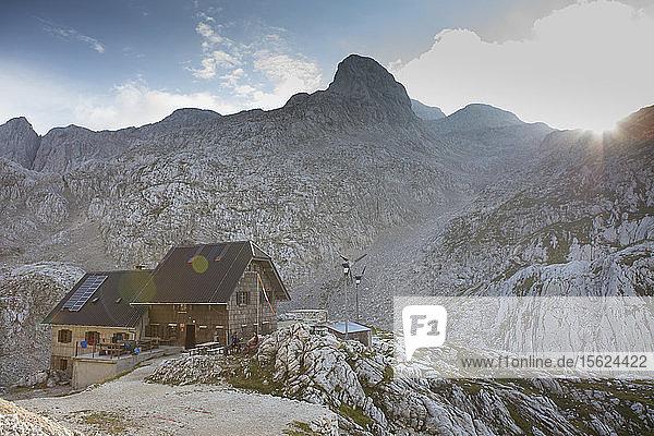 View of mountain hut in Triglav National Park  Slovenia