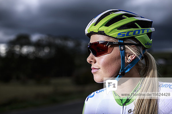 Tasmanian champion cyclist Macey Stewart out on a training ride on the country roads behind Sheffield near Mount Roland North West Tasmania.