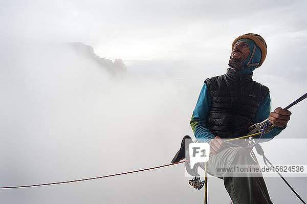 Fog Around The Male Rock Climber  Bolivar State  Venezuela