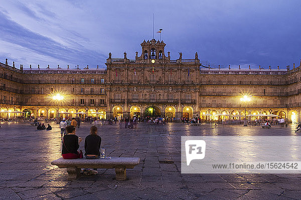 Illuminated View Of Main Square Of Plaza Mayor De Salamanca In Spain
