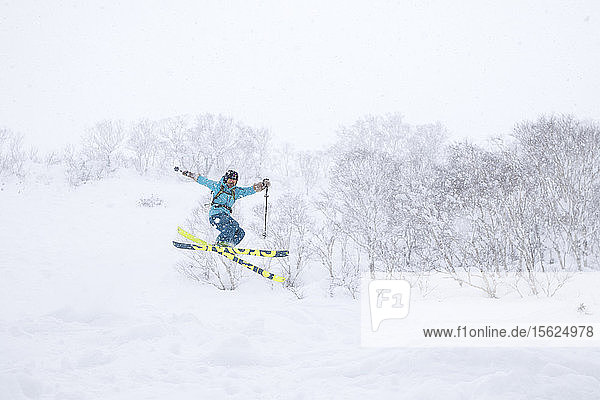 A female backcountry skier is jumping in the air halfway down the Volcano Annupuri in ski resort Niseko United. The snow on the Japanese island of Hokkaido is so deep and fluffy  it is a powder skiers paradise and allows for making big jumps  as the landing is always soft. Niseko United is comprised of four resorts on the one mountain  Annupuri (1 308m). 100km south of Sapporo  Niseko Annupuri is a part of the Niseko-Shakotan-Otaru Kaigan Quasi-National Park and is the most eastern park of the Niseko Volcanic Group. Hokkaido  the north island of Japan  is geographically ideally located in the path of consistent weather systems that bring the cold air across the Sea of Japan from Siberia. This results in many of the resorts being absolutely dumped with powder that is renowned for being incredibly dry. Some of the Hokkaido ski resorts receive an amazing average of 14-18 meters of snowfall annually. Niseko is the powder capital of the world and as such is the most popular international ski destination in Japan. It offers an unforgettable experience for all levels of skier and snowboarder.