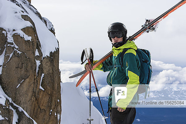 Professional Skier Hikes Into The Backcountry Around Cerro Catedral In Argentina