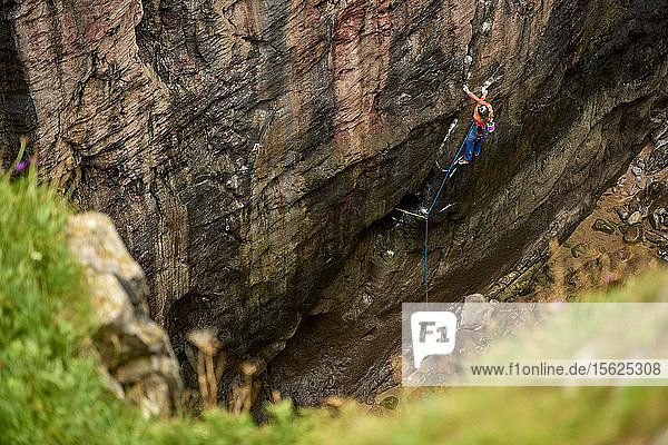 Professional climbers Jacopo Larcher  Barbara Zangerl  Roland Hemetzberger and Lara Neumeier on a climbing trip to Wales  UK.