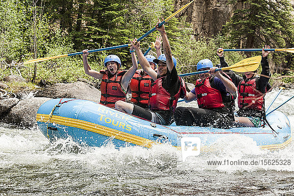 Group Of People Rafting On Taylor River