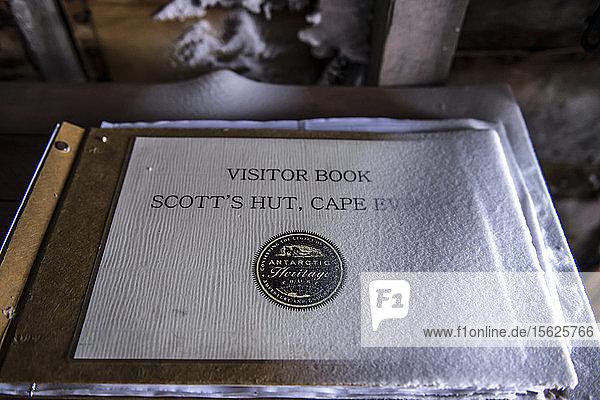The visitor book at Captain Robert Falcon Scott's Hut,  Cape Evans,  Antarctica.