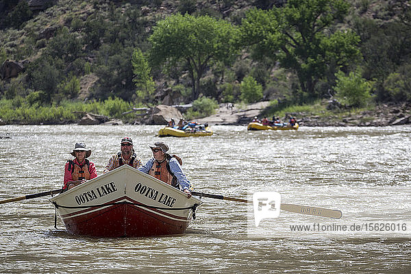 Two women and man paddling in Dory rowboat on Desolation. Gray Canyon section of Green River  Utah  USA