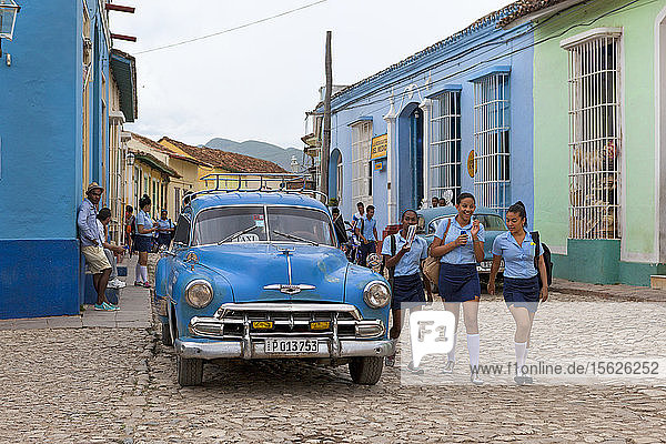 Student In Their Uniform Walking In The Streets Of Trinidad  Cuba
