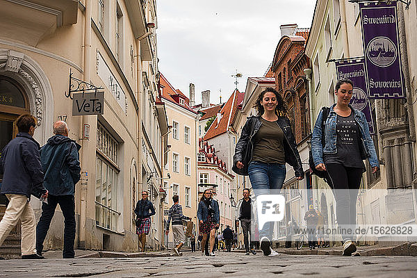 Visitors to Estonia's capital city Tallinn  walk the cobblestone streets in the Old Town district. Founded in 1248  Tallin is considered one of Europe's best preserved medieval cities.
