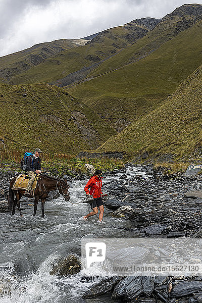 Stream Crossing in the National Park of Tusheti