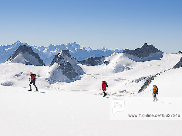 Three mountaineers are walking on Vallee Blanche  huge glacier in the Mont Blanc range on the border of France and Italy  Chamonix  Haute-Savoie  France