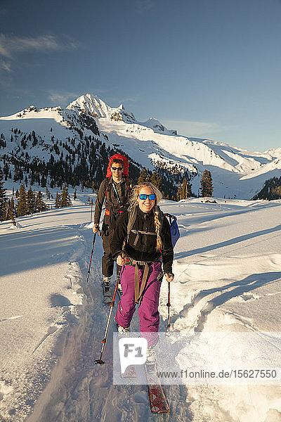 A Married Couple Ski Touring Through Garibaldi Provincial Park  Canada