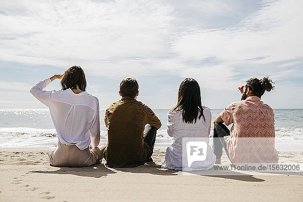 Rear view of friends sitting on the beach looking at the sea