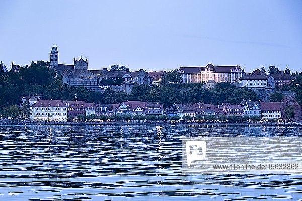 Houses by Lake Constance against sky at dusk  Meersburg  Germany