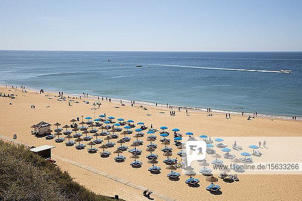Sonnenliegen und Sonnenschirme am Strand im Sommer  Albufeira  Algarve  Portugal