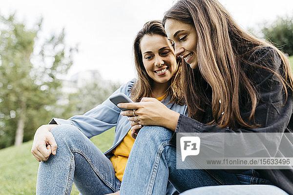 Zwei Freunde schauen auf das Smartphone und sitzen auf einer Wiese in einem Park