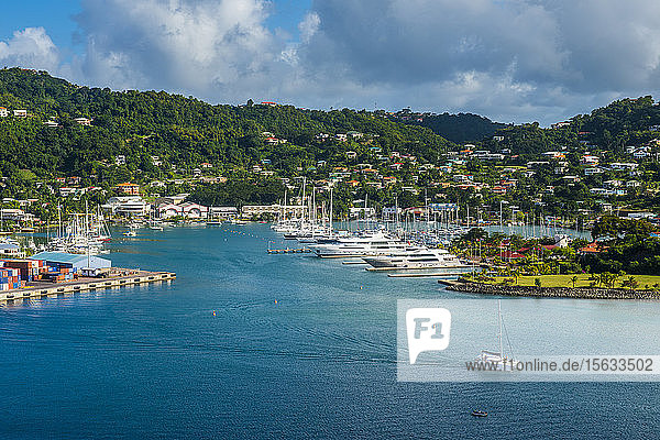 High angle view of St Georges  capital of Grenada  Caribbean