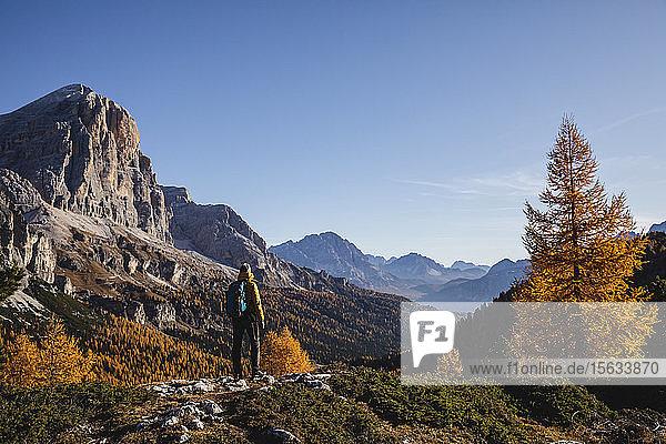 Wanderer auf Aussichtspunkt stehend  Dolomiten Alpen  Venetien  Italien