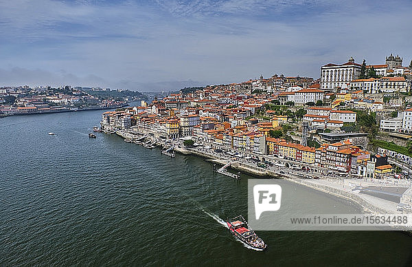Portugal  Porto  Douro river flowing through city seen from above
