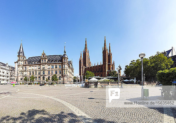 View over market square with new city hall and church  Wiesbaden  Germany
