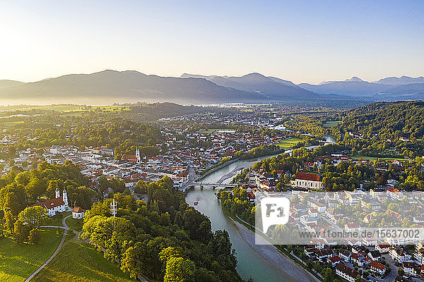 Aerial view of Bad Toelz against clear sky during sunrise  Bavaria  Germany