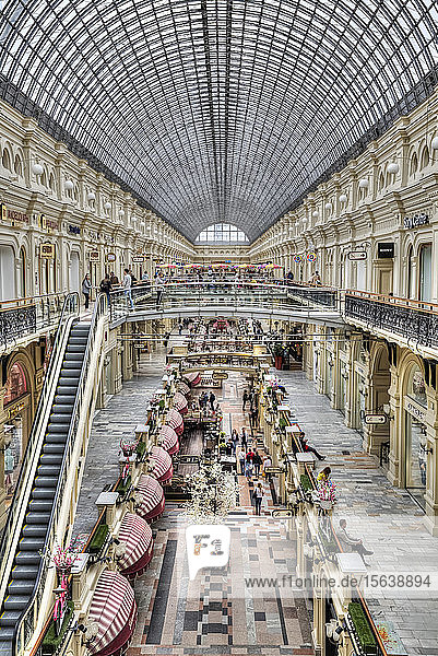 GUM Shopping Mall with a curved ceiling of windows; Moscow,  Russia