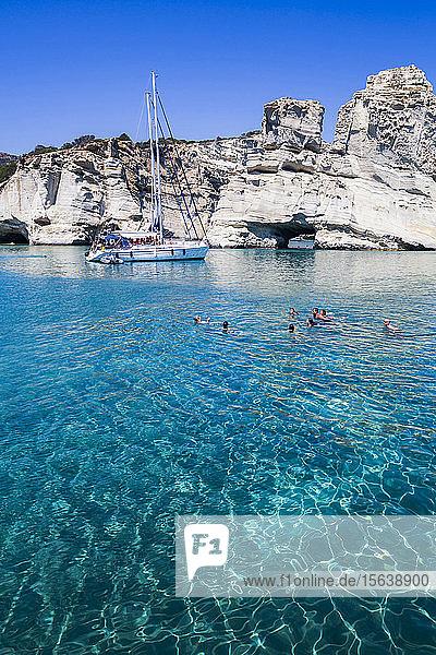Tourists with tour boat in Kleftiko Bay; Milos Island  Cyclades  Greece