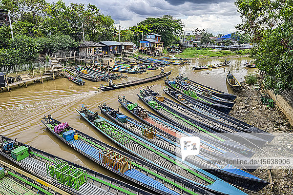 Long boats along the river; Yawngshwe  Shan State  Myanmar