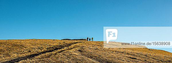 People standing on a hill against a blue sky  near Reykjanes Lighthouse  Reykjanes Peninsula; Iceland