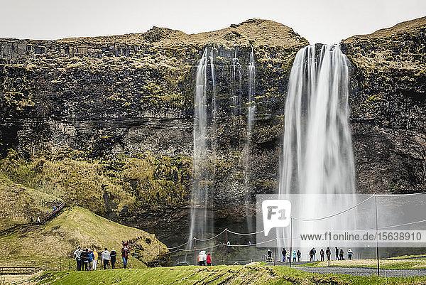 Seljalandsfoss  a waterfall that drops 60 metres; Iceland