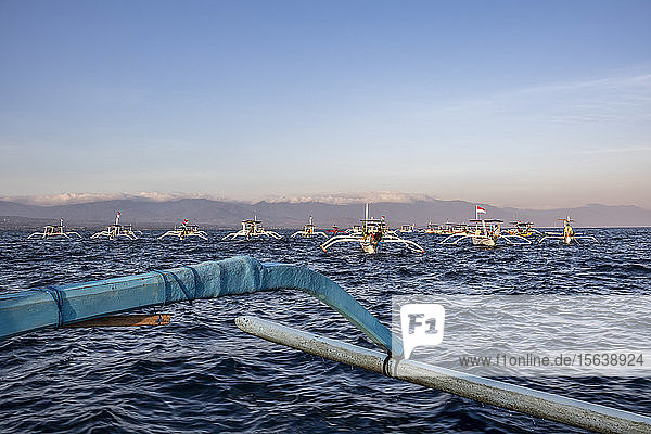 Indonesian jukung  traditional wooden outrigger canoes; Lovina  Bali  Indonesia
