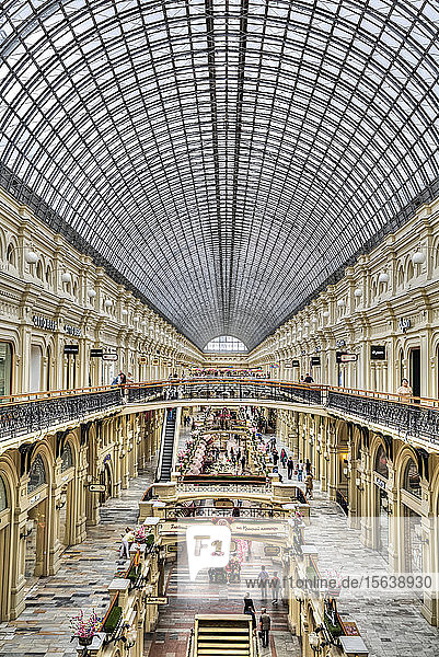 GUM Shopping Mall with a curved ceiling of windows; Moscow  Russia