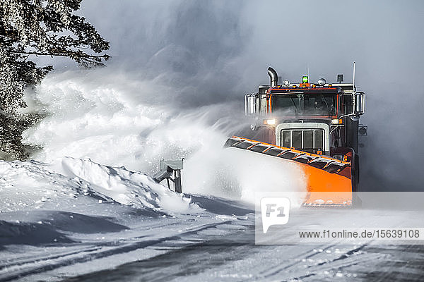 Snow plow throwing fresh snow to the side of the road; Sault St. Marie  Michigan  United States of America