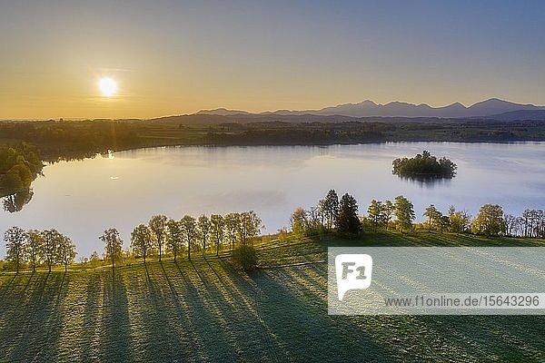 Sonnenaufgang am Staffelsee bei Uffing am Staffelsee  Luftbild  Alpenvorland  Oberbayern  Bayern  Deutschland  Europa