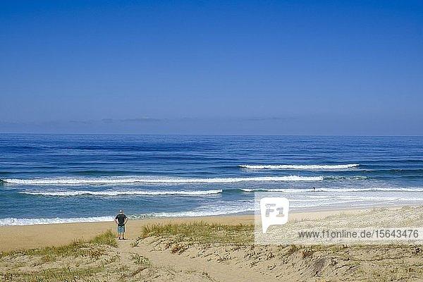 Strand und Küste bei Plage des Chênes Lièges  Département Landes  Atlantikküste  Region Nouvelle-Aquitaine  Frankreich  Europa