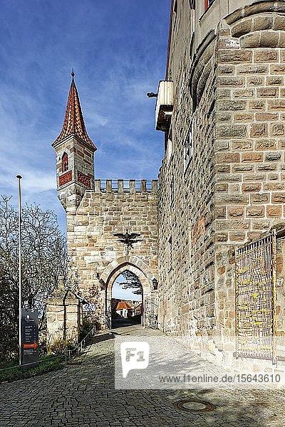 Eingangstor mit Wachturm  Burg Abenberg  Höhenburg  Abenberg  Fränkisches Seenland  Mittelfranken  Burgenstraße  Franken  Bayern  Deutschland  Europa