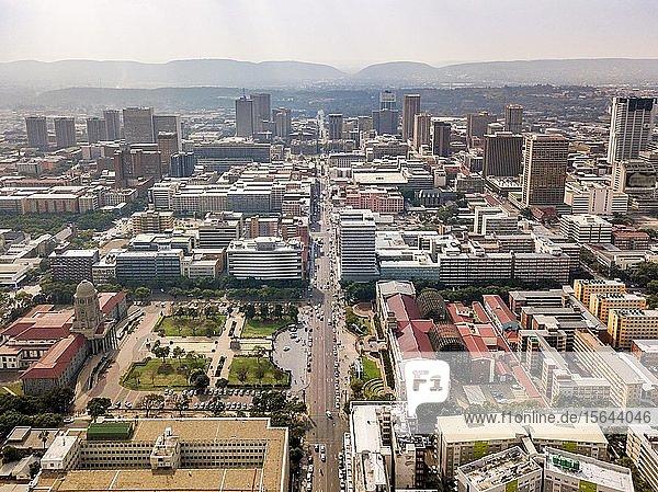 Aerial view of highrises of Pretoria downtown  Pretoria  South Africa  Africa