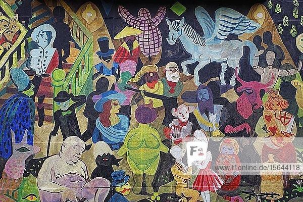 Street Art Bild an einer Hauswand  Antwerpen  Belgien  Europa