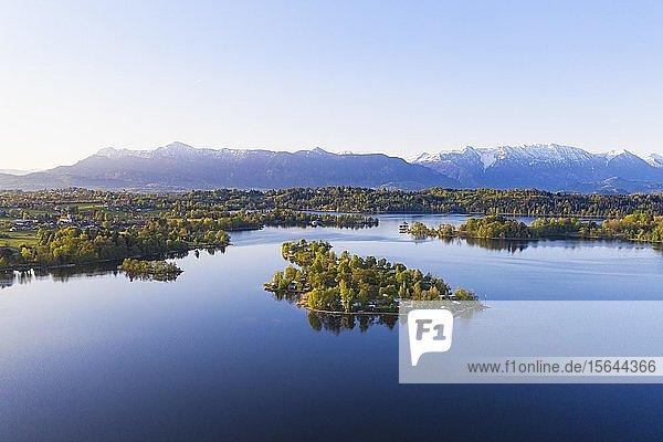 Staffelsee mit Insel Buchau  Seehausen am Stafelsee  Luftbild  Alpenvorland  Oberbayern  Bayern  Deutschland  Europa