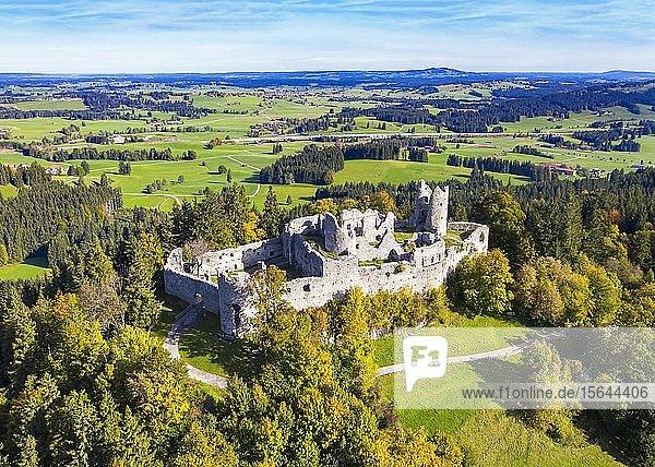 Burgruine Hohenfreyberg  bei Eisenberg  Luftbild  Ostallgäu  Allgäu  Schwaben  Bayern  Deutschland  Europa