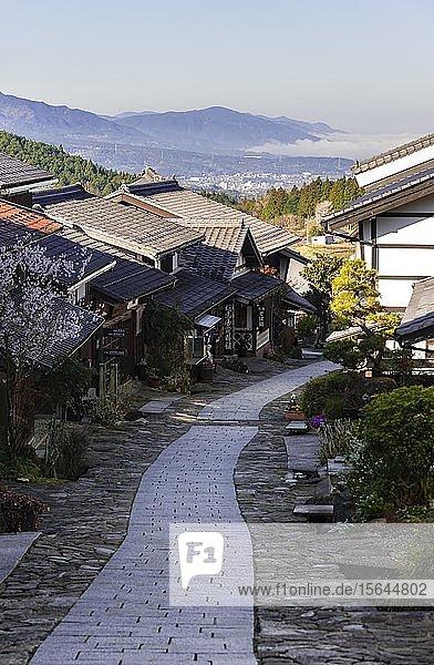 Historic village on Nakasend? street  Traditional houses  Magome-juku  Magome  Kiso Valley  Japan  Asia