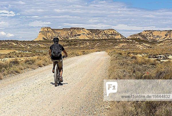 Radfahrer an einer Straße in der Wüste Bardenas Reales  Navarra  Spanien  Europa