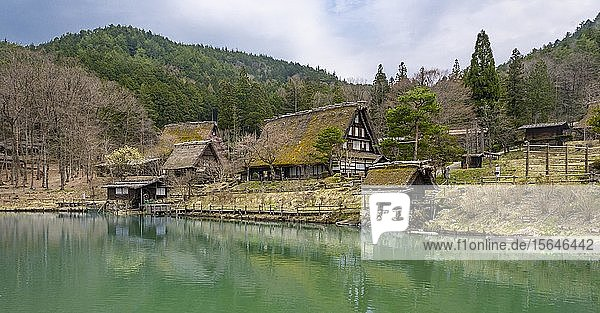 Rekonstruktion eines alten japanischen Dorfes  Hida Minzoku Mura Folk Village  Hida no Sato  Takayama  Japan  Asien
