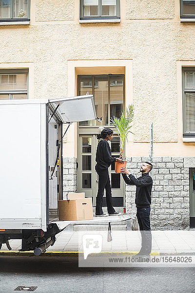 Männliche und weibliche Möbelpacker beim Entladen von Topfpflanzen vom Lastwagen auf der Straße in der Stadt