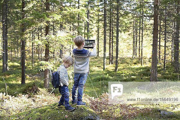 Kleinkind mit Bruder fotografiert Wald