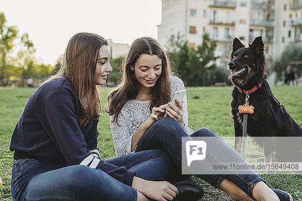 Schwestern mit Hund reden im Park
